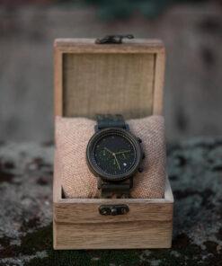 montre en bois homme rainy santal vert coffret