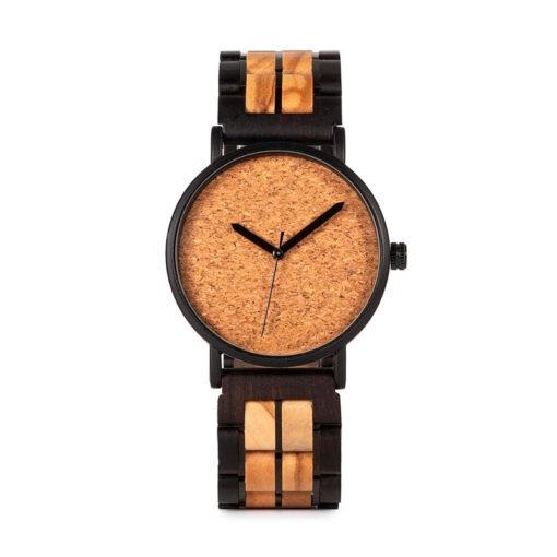 montre en bois unisexe prisma sable