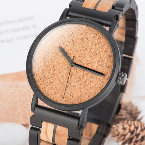 montre en bois unisexe prisma sable cadran