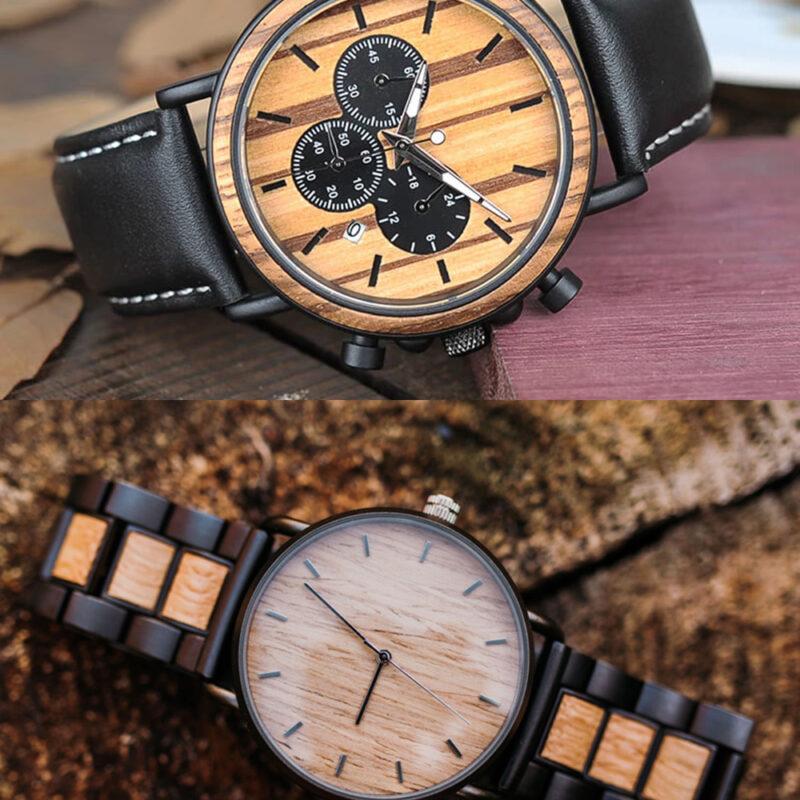 montre en bois bracelet cuir acier